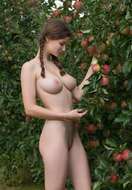 【外人】ドイツ人スーザン(Susann)がりんごやラベンダーと戯れる野外露出のフルヌードポルノ画像 10120