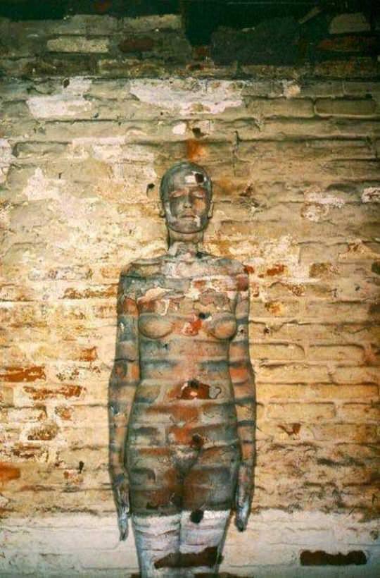 【外人】全裸にカモフラを描いて露出してるアート系ポルノ画像 11203