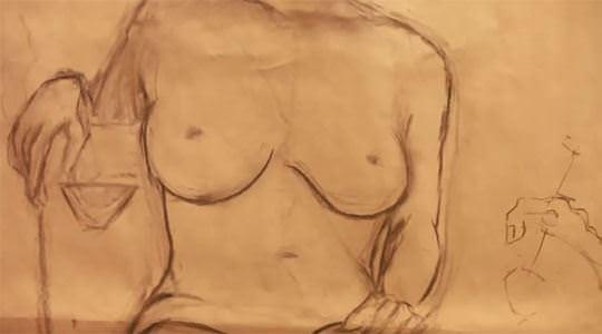 【外人】街中でヌードデッサンのモデルになってるお姉さんが美女な露出ポルノ画像 1193