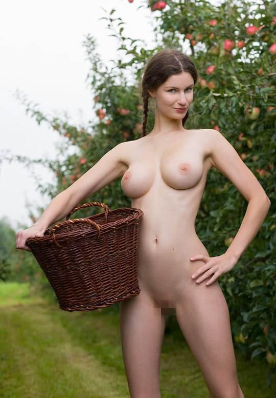 【外人】ドイツ人スーザン(Susann)がりんごやラベンダーと戯れる野外露出のフルヌードポルノ画像 13116