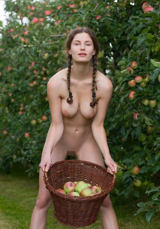 【外人】ドイツ人スーザン(Susann)がりんごやラベンダーと戯れる野外露出のフルヌードポルノ画像 15105