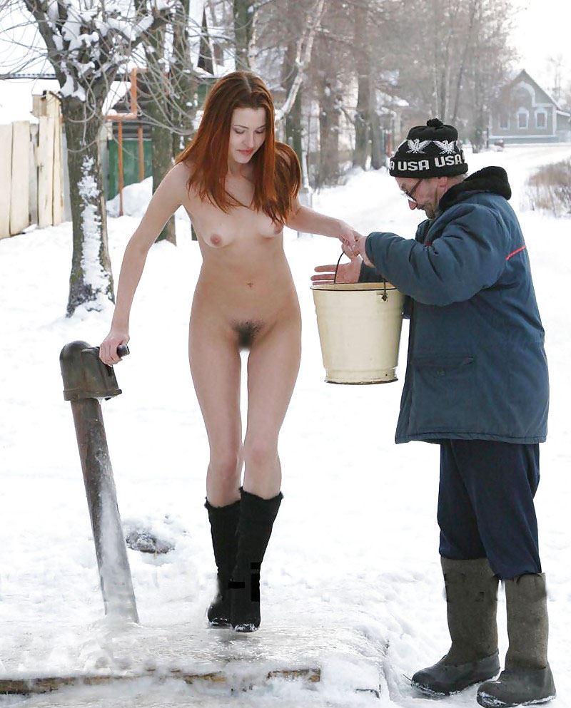 【外人】 20度 30度当たり前のロシアの冬に全裸で雪遊びする露出女のポルノ画像 1717
