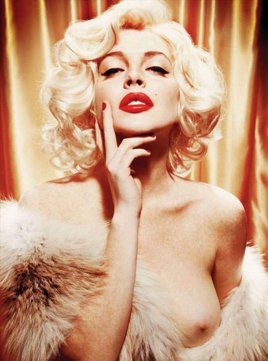 【外人】リンジーローハン(Lindsay Lohan)がマリリン・モンロー風セクシーポーズでおっぱい晒すポルノ画像 2173