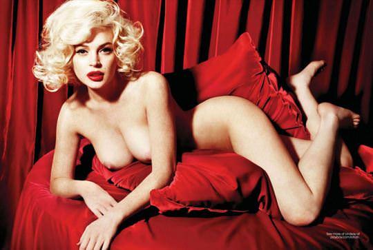 【外人】リンジーローハン(Lindsay Lohan)がマリリン・モンロー風セクシーポーズでおっぱい晒すポルノ画像 858