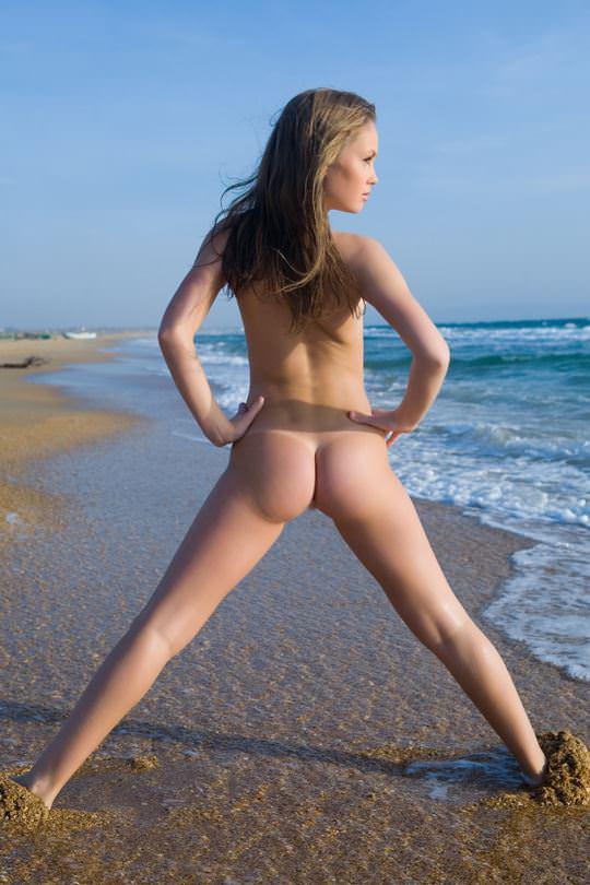 【外人】ビーチの波打ち際ではしゃぐ金髪洋ロリ顔の美少女がフルヌードでおまんこ露出するポルノ画像 499