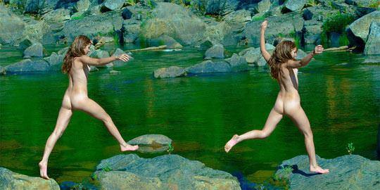 【外人】水辺で遊ぶ美女達が妖精のようで美しい露出ポルノ画像 547