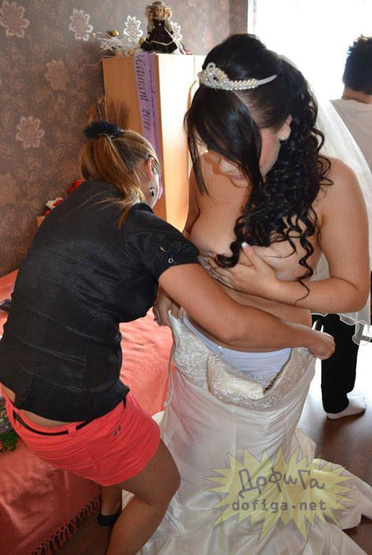 【外人】海外の美人花嫁がドレスでおっぱいポロリしてるポルノ画像 1160