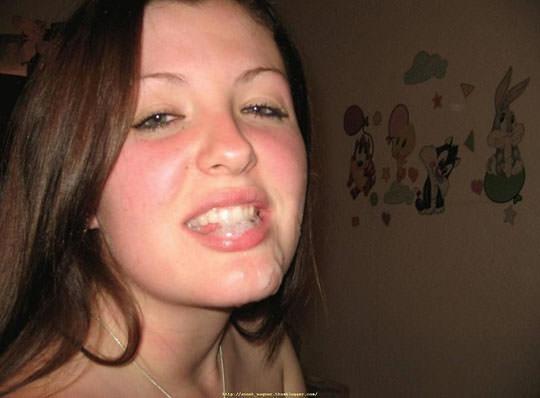 【外人】洋ティーンの素人娘の顔面にザーメンぶっかけた顔射ポルノ画像 35