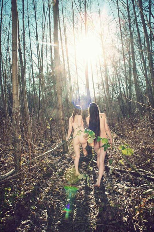 【外人】大自然でヌードグラビア撮影する妖精な白人美女達の野外露出ポルノ画像 654