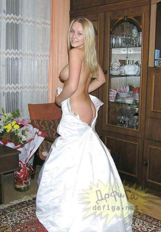 【外人】海外の美人花嫁がドレスでおっぱいポロリしてるポルノ画像 838