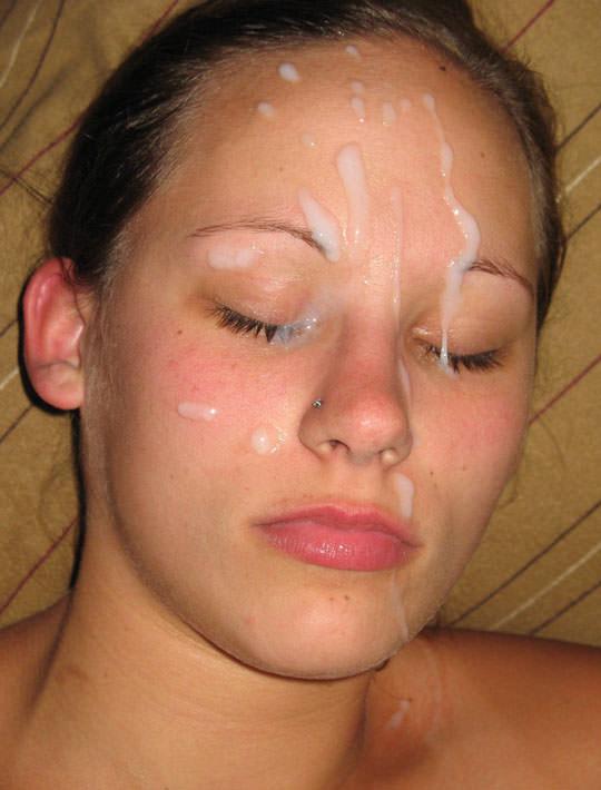 【外人】洋ティーンの素人娘の顔面にザーメンぶっかけた顔射ポルノ画像 92