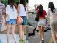 スラっとした生足がイヤらしい韓国人素人娘の街撮り盗撮ポルノ画像