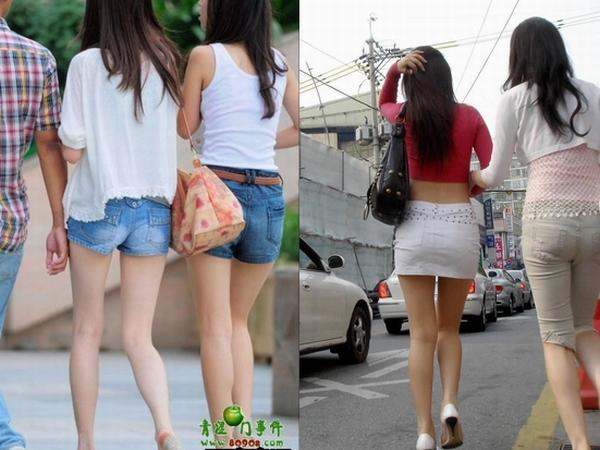 スラっとした生足がイヤらしい韓国人素人娘の街撮り盗撮ポルノ画像 0140