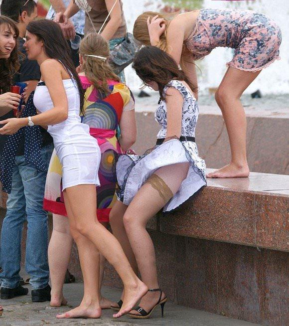 金髪美女も混じってる海外美人たちを盗撮した街撮りポルノ画像