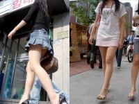 韓国人女子の太ももを街撮り盗撮した素人ポルノ画像