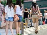 街撮りした韓国人の生足がスベスベでエッロwwwww