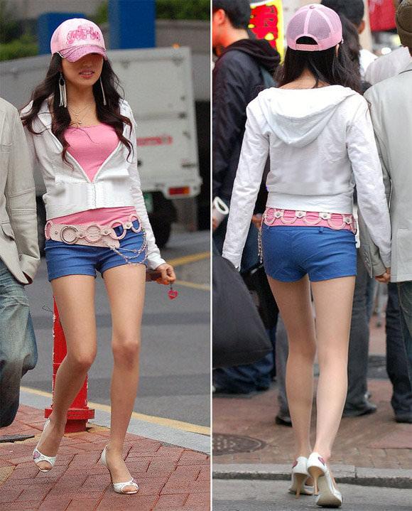 韓国人女子の太ももを街撮り盗撮した素人ポルノ画像 193