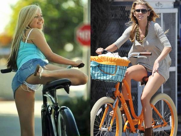 海外旅行中に超ラッキー!ミニスカで自転車乗ってパンチラする外国人のお姉さんwww 01 1