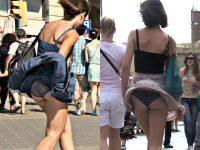 海外街撮りスカートがエッチに舞い上がるパンチラ画像wwwwww